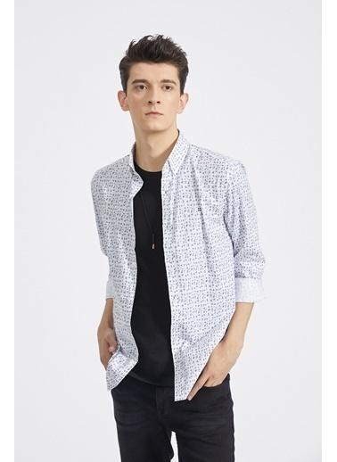 Avva Erkek  Baskılı Düğmeli Yaka Gömlek A02Y2296 Beyaz